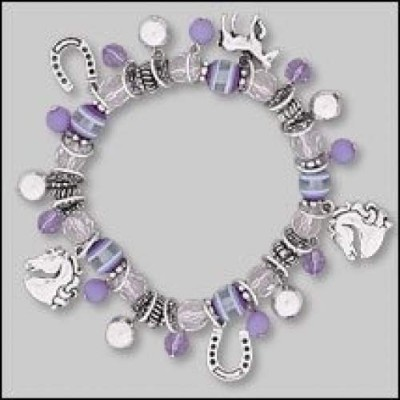 Purple Bead & Horse Charm Stretch Bracelet