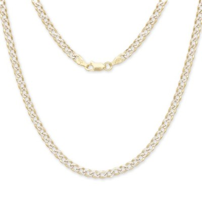 "24"" Curb/Cuban Italian Chain Two-Toned 14K Gold over .925 Sterling Silver / 3.5 mm"