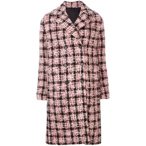 Ermanno Scervino double breasted check coat - ピンク&パープル