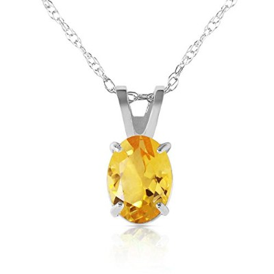 """K14 White Gold 18"""" Necklace with Oval-shaped Citrine Pendant"""