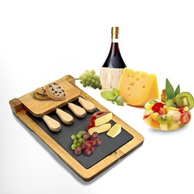 ZenキッチンプレミアムAcacia Wood Cheese Serving Board Set with RemovableスレートServing Tray and 4Pieceステンレススチール...