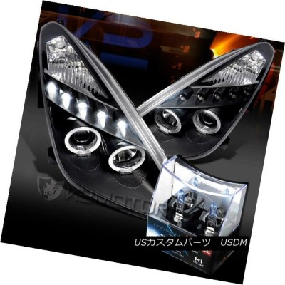 ヘッドライト For 00-05 Toyota Celica Black LED Halo Projector Headlights+H1 Halogen Bulbs 00-05用トヨタセリカブラック...