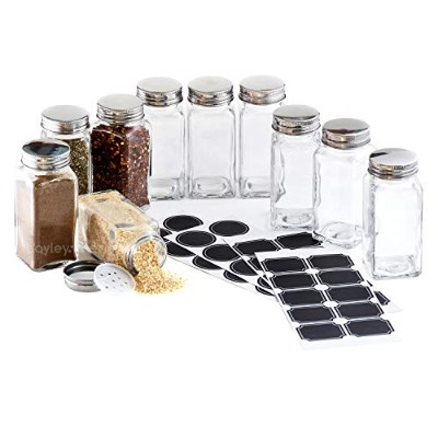 -- LAUNCH SALE -- Hayley Cherie - 180ml Square Glass Spice Jars (Set of 10) - Chalkboard Labels,...