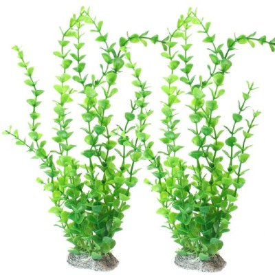 SODIAL(R) Fish Tank Aquarium Landscaping Green Plastic Aquatic Grass Plant 10.4 2pcs by Como