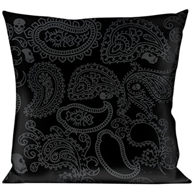 buckle-down Throw pillow-bandana / Skullsブラック/シルバー、ペイズリーSkulls