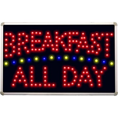 "led139 Breakfast All Day Ledネオンサイン W 16""x H 10""x D 0.5"" レッド"