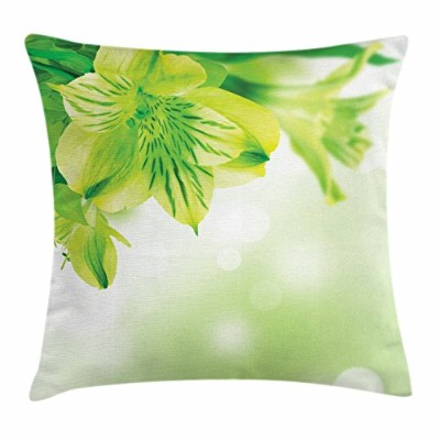 (41cm W By 41cm L, Multi 1) - Green Throw Pillow Cushion Cover by Ambesonne, Fresh Lily Flower...