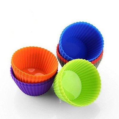 Silicone Muffin Cups,Pack of 24, Resist Stains and Odours, Dishwasher-safe for Quick Cleanup.