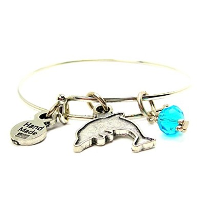 """ChubbyChicoCharmsイルカシルエットin Aqua Blue Expandable Wire Bangle、2.5 """""""
