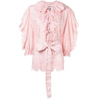 Horror Vacui floral print ruffled blouse - ピンク&パープル