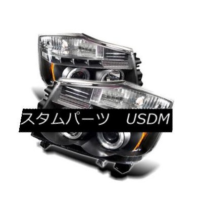 ヘッドライト Fit Nissan 04-15 Titan / 04-07 Armada Black Dual Halo LED Projector Headlights フィット日産04...