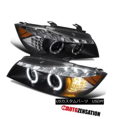 ヘッドライト 06-08 BMW E90 3-Series 4Dr Black DRL Halo LED Signal Projector Headlights 06-08 BMW E90...