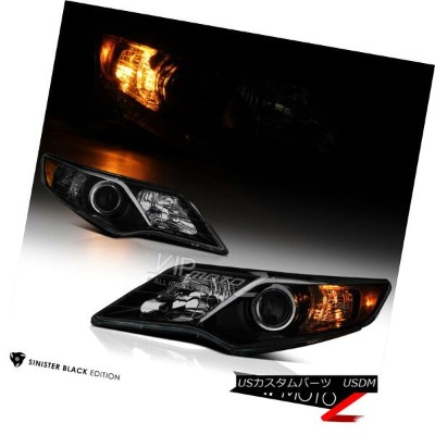 "ヘッドライト 2012-2014 Toyota Camry ""DARKEST Black Smoke"" Halogen Projector Headlights Pair 2012年..."