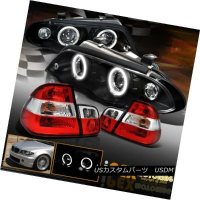 ヘッドライト 3-SERIES 1999-2001 BMW E46 4Dr Halo Projector LED Headlights + Red Tail Light 3-SERIES 1999...