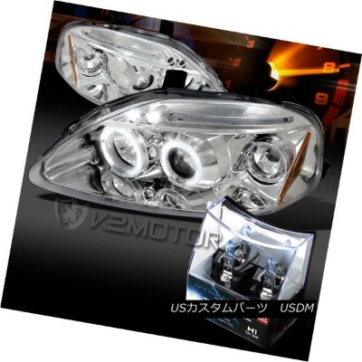 ヘッドライト For 99-00 Honda Civic Chrome LED Halo Projector Headlights+H1 Halogen Bulbs 99-00ホンダシビッククロームL...