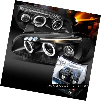ヘッドライト For 00-01 Nissan Maxima Black Halo LED Projector Headlights+H1 Halogen Bulbs 00-01日産マキシマブラックハ...