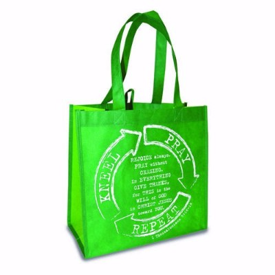 Divinity Boutique 96586 Eco Tote - Kneel Pray Repeat, Green Two Tone