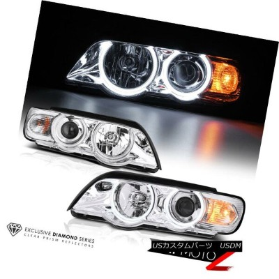 ヘッドライト *Metallic Chrome* 1998-2003 BMW X5 Dual Halo Projector Headlights Pair Set *メタリック・クローム* 1998...