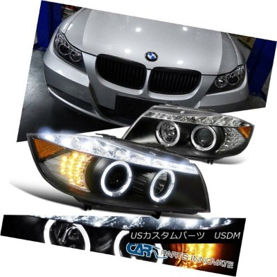 ヘッドライト BMW 2006-2008 3-Series 325i 330i 4Dr Black Halo LED Signal Projector Headlights BMW 2006...