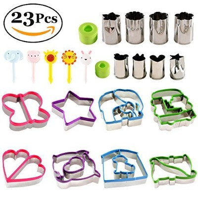 estansiaステンレススチールサンドイッチカッターセットfor Kids – 8 Bread and Cookie Cutters – 8野菜、チーズ、果物ステンシル – 5 Food...