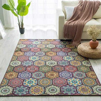 carvapetノンスリップLiving Room RugヴィンテージデザインバロックスタイルArea Rug with 8 pieces Rug Grippers、5 ¡¯ x7 ¡¯ AR2...