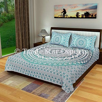 (Pattern 1) - Ombre Mandala Bedding set, Cotton Bed sheet Queen, Boho Blanket throw, Indian Bed...