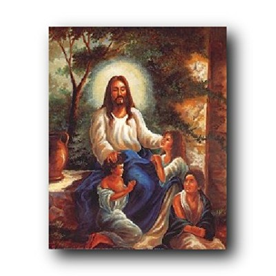 Jesus Christ with Children in the Garden Christian Religious Art Print Poster (16x20)