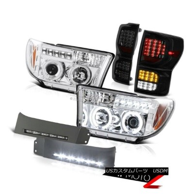 ヘッドライト 07-13 Toyota Tundra SR5 Tail Lamps DRL Strip Projector Headlamps 2X CCFL Halo 07-13トヨタツンドラSR5...