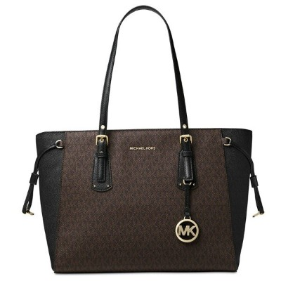 マイケルコース トートバッグ Michael Michael Kors 30F8GV6T8BVoyager Medium Logo Tote (Brown/Black/Gold) ミディアム ロゴ...