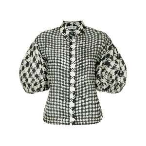Dice Kayek puff sleeve hound check top - ブルー