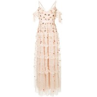 Needle & Thread Celeste embroidered gown - ピンク