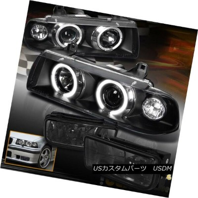 ヘッドライト For (3-Series) 1992-1998 BMW E36 Halo Projector Black Headlights+Smoke Fog Light (3シリーズ)1992...