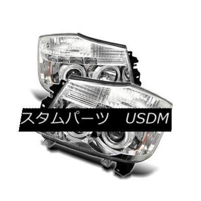 ヘッドライト Fit Nissan 04-15 Titan / 04-07 Armada Chrome Dual Halo LED Projector Headlights フィット日産04...