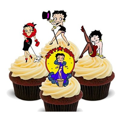Betty Boop Edible Cupcake Toppers – stand-up Wafer Cake Decorations by made4you