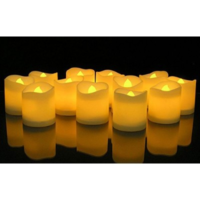 KOBWA Flickering Flameless Candles LED Tealight Candles-Pack of 12-Beautiful and Elegant Unscented...