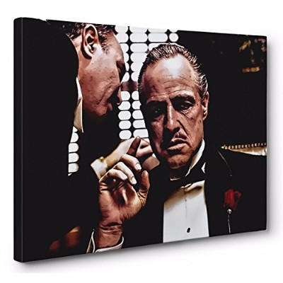 The Godfather Vito Corleone Framedキャンバス壁アート( Ready to Hang ) 32x48in.
