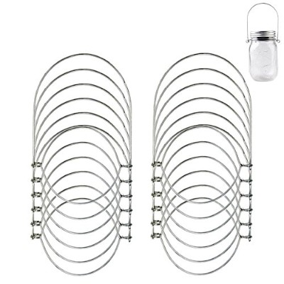12 Pack Stainless Steel Wire Handles for Regular Mouth Mason, Ball, Canning Jars Hanger, Hanging...