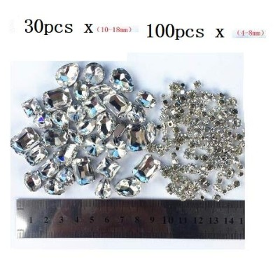 130 pcs of transprent Glass Gemstone DIY bright diamond for sewing DIY materials different color,...
