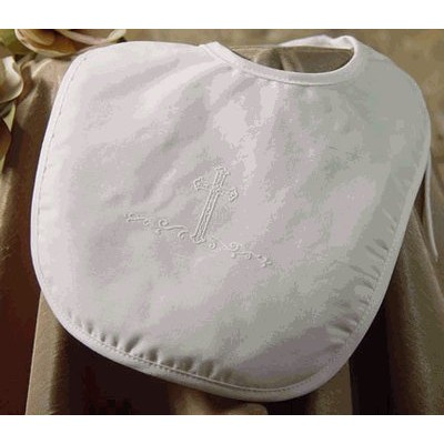 Polycotton Christening Bib with Puff Silk Screened Cross (Small) by Little Things Mean A Lot