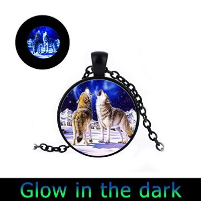 glowlala Glowing Howling WolfブルームーンネックレスGlow in the Dark with Simple Victorianヴィンテージスタイルブラックペンダントネック...