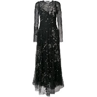 Amen long embroidered gown - ブラック