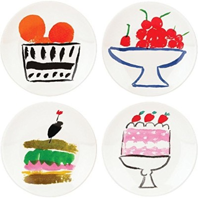 KSNY All in Good Taste Pretty Pantry Dw Appetizer Plate, White, Set of 4 by Kate Spade New York