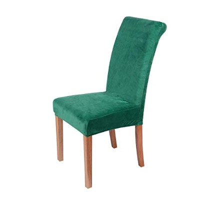 (Dark Green) - Colorxy Spandex Fabric Stretch Dining Room Chair Slipcovers Home Decor Set of 4,...