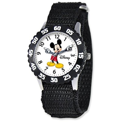 Disney Kids MickeyマウスブラックVelcro Band Time Teacher Watch