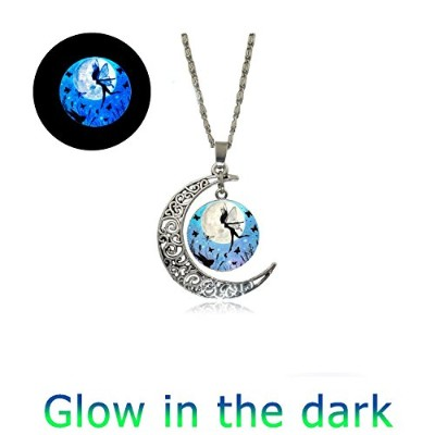 glowlala Glowing妖精ネックレス、フルムーンネックレス、グローin theダーク、Pixieチャーム、Fairy Moon、、妖精ジュエリーフェアリーペンダントFairyジュエリーギフト