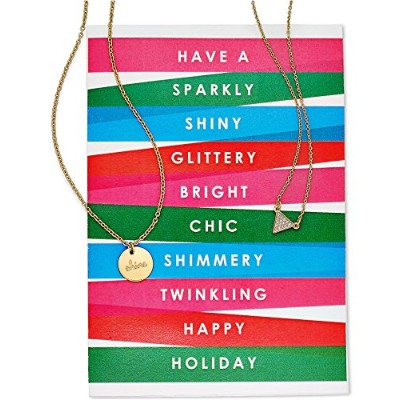 Macy 's Women 's 18-2のセットゴールド調ペンダントネックレスwith Holiday Greeting Card ' Happy Holiday '