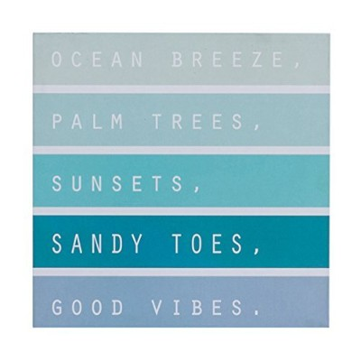 Ocean Breeze Palm Trees Sunsets Sandy Toes Good Vibes Box Sign, Modern Quote Beach Home Decor 20cm...