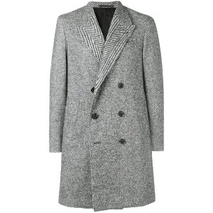 Caruso double-breasted fitted coat - グレー