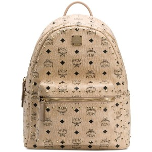 MCM studded logo backpack - ニュートラル
