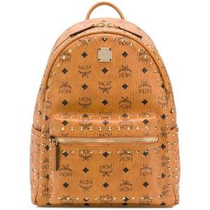 MCM studded logo backpack - ブラウン